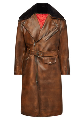 CALVIN KLEIN 205W39NYC Leather Coat with Shearling Collar