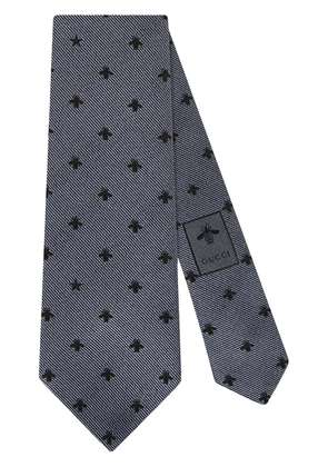 Gucci Silk tie with bees and stars - Grey