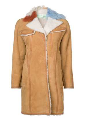 Off-White contrast collar shearling coat - Nude & Neutrals