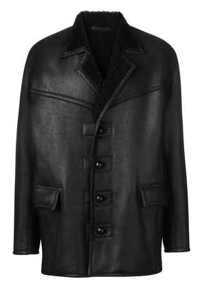 Isabel Marant fur lined leather coat - Black