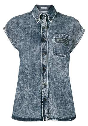 Miu Miu short sleeve denim shirt - Blue