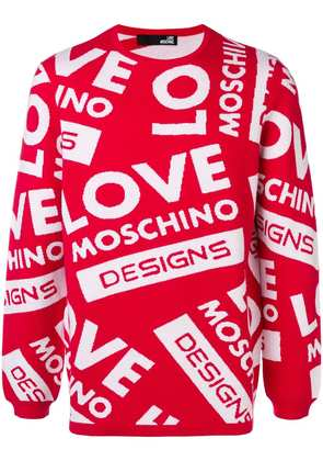 Love Moschino all over logo sweater - Red