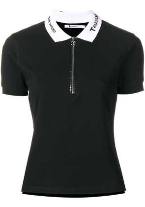 T By Alexander Wang embroidered collar polo shirt - Black