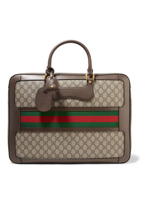 Gucci - Echo Small Leather-trimmed Coated-canvas Suitcase - Neutral