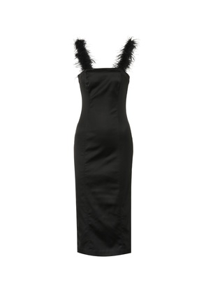 Romy feather-trimmed midi dress