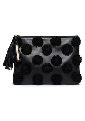 Loeffler Randall Woman Pompom-embellished Leather Pouch Gunmetal Size -