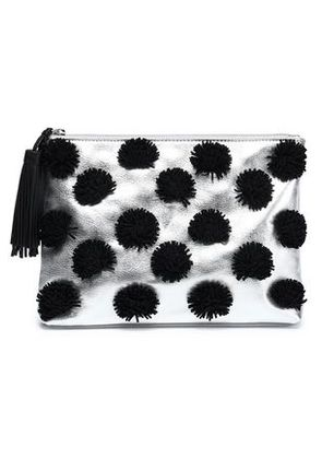 Loeffler Randall Woman Pompom-embellished Metallic Leather Clutch Silver Size -
