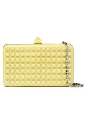 Valentino Woman Crystal-embellished Studded Acrylic Clutch Pastel Yellow Size -