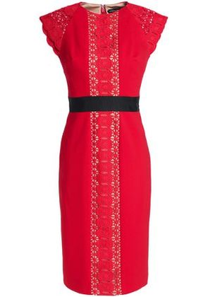 Catherine Deane Woman Guipure Lace-paneled Crepe Dress Red Size 8