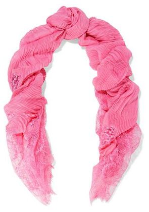 Valentino Woman Lace-paneled Plissé Modal And Cashmere-blend Scarf Pink Size -