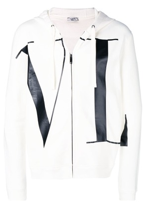 Valentino letters print zipped hoodie - White