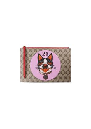 Gucci GG Supreme pouch with Bosco patch - Brown