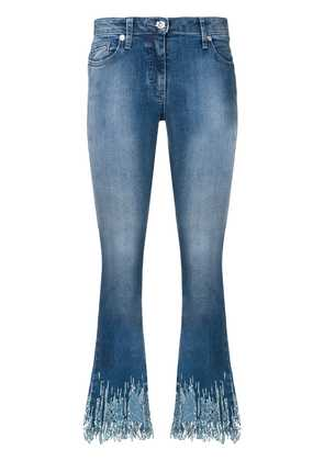 Blumarine sequin cropped flared jeans - Blue