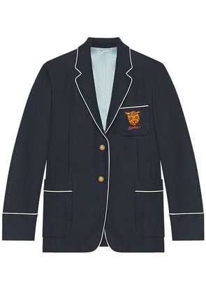 Gucci Palma cashmere jacket with tiger - Blue