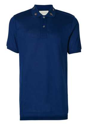 Gucci embroidered collar polo shirt - Blue