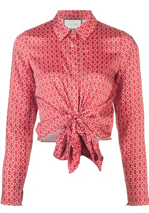Alexis tie front printed shirt - Red