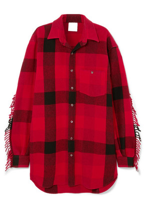 Vetements - Oversized Fringed Checked Wool-blend Flannel Shirt - Tomato red