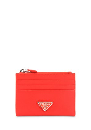 TRIANGLE LOGO SAFFIANO CARD CASE