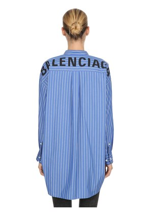 BACK LOGO STRIPED COTTON POPLIN SHIRT