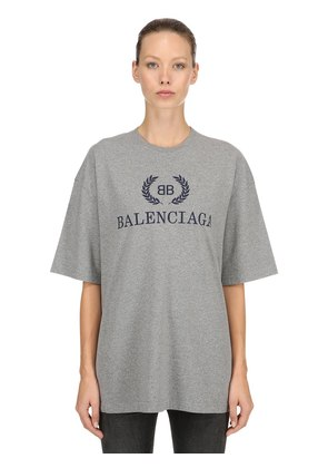 OVERSIZED LOGO COTTON JERSEY T-SHIRT