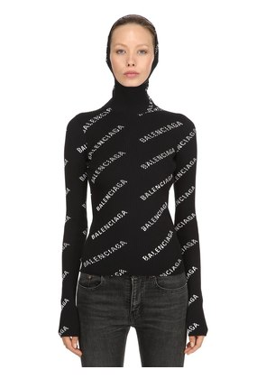 HOODED RIB KNIT TURTLENECK SWEATER