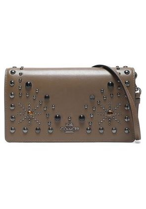 Coach Woman Studded Leather Clutch Taupe Size -