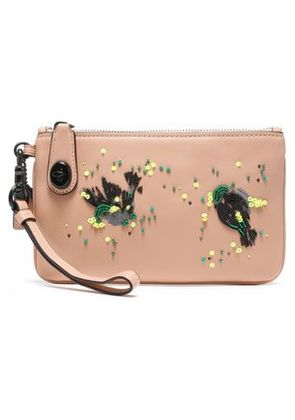 Coach Woman Embellished Leather Pouch Blush Size -