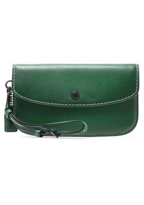 Coach Woman Leather Pouch Dark Green Size -