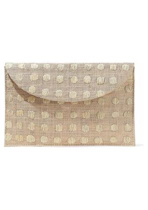Kayu Woman Embroidered Woven Straw Envelope Clutch Neutral Size -
