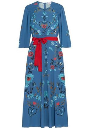 Redvalentino Woman Belted Printed Crepe Midi Dress Blue Size 36