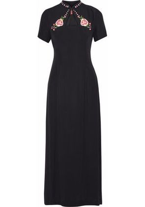 Staud Woman Clavel Embroidered Crepe De Chine Maxi Dress Black Size XS