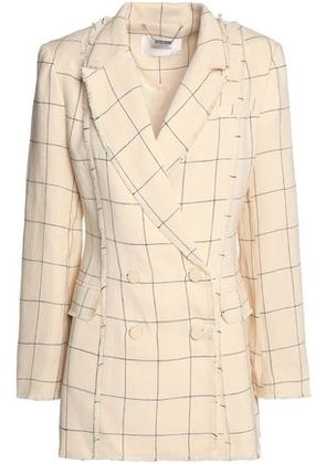 Zimmermann Woman Double-breasted Frayed Checked Linen-twill Blazer Ecru Size 0