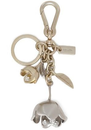 Coach Woman Silver And Gold-tone Crystal Keychain Silver Size -