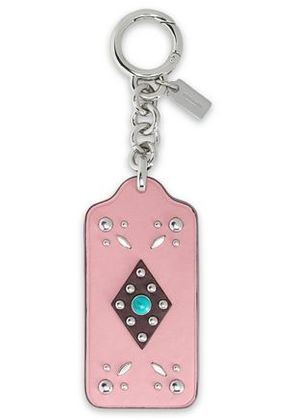 Coach Woman Studded Leather Keychain Baby Pink Size -