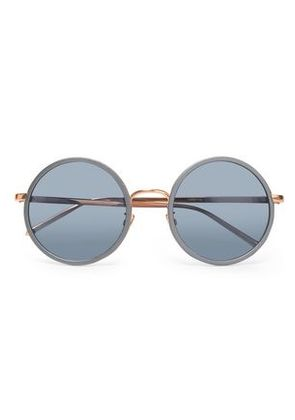 Linda Farrow Woman Round-frame Acetate And Gold-tone Sunglasses Light Blue Size -