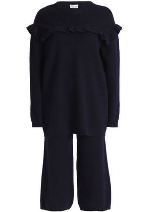 Redvalentino Woman Ruffle-trimmed Embroidered Brushed-wool Sweater And Pants Set Navy Size XS