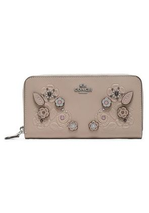 Coach Woman Embellished Embossed Leather Wallet Taupe Size -