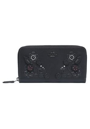 Coach Woman Embellished Embossed Leather Wallet Black Size -