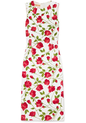 Michael Kors Collection - Floral-print Stretch-cady Dress - Red