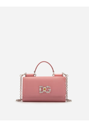 Dolce & Gabbana Mini Bags and Clutches - DAUPHINE CALFSKIN VON BAG WITH DG LOGO AND CRYSTALS PINK