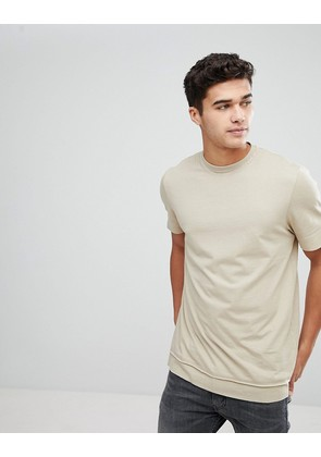 ASOS Longline T-Shirt With Layered Hem And Raw Edges In Beige - Barley marl