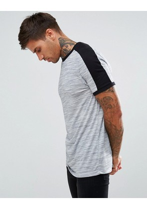 ASOS T-Shirt With Shoulder Colour Block In Interest Fabric In Grey - Grey marl