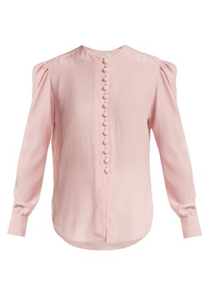 Covered-button silk blouse