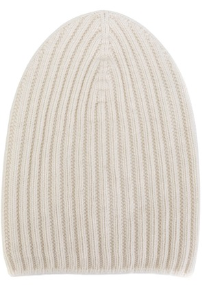 Barrie ribbed-knit cashmere beanie - White