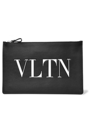 Valentino - Valentino Garavani Embossed Printed Leather Pouch - Black