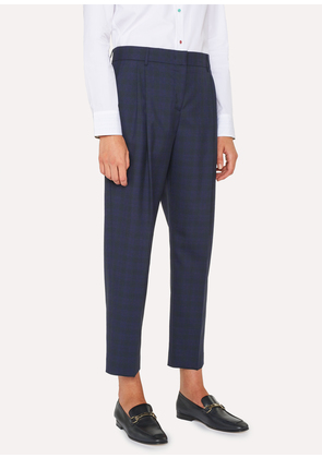 Women's Tailored-Fit Blue Tonal Check Wool Double-Pleat Trousers