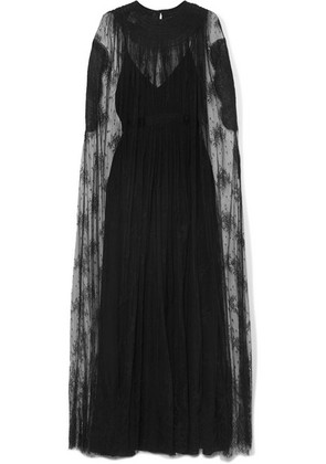 Valentino - Cape-effect Lace And Silk-georgette Gown - Black