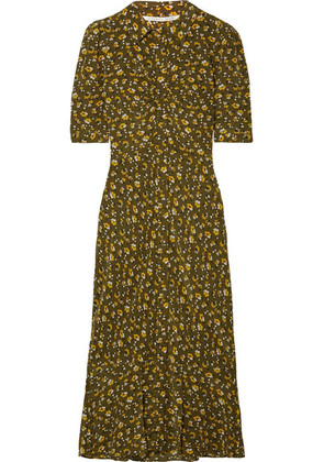 Veronica Beard - Pike Floral-print Silk Crepe De Chine Midi Dress - Army green