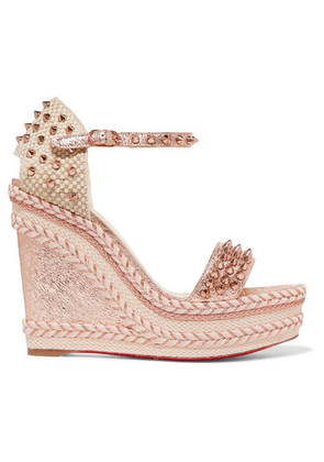 Christian Louboutin - Madmonica 120 Spiked Metallic Cracked-leather Espadrille Wedge Sandals - Pink
