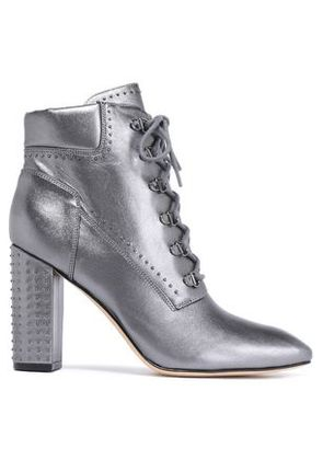 Sigerson Morrison Woman Studded Leather Ankle Boots Silver Size 6.5